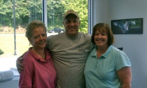 Gary with Diana Rizza, PT and Darlene Page of TheraSport Physical Therapy in Summerfield, North Carolina